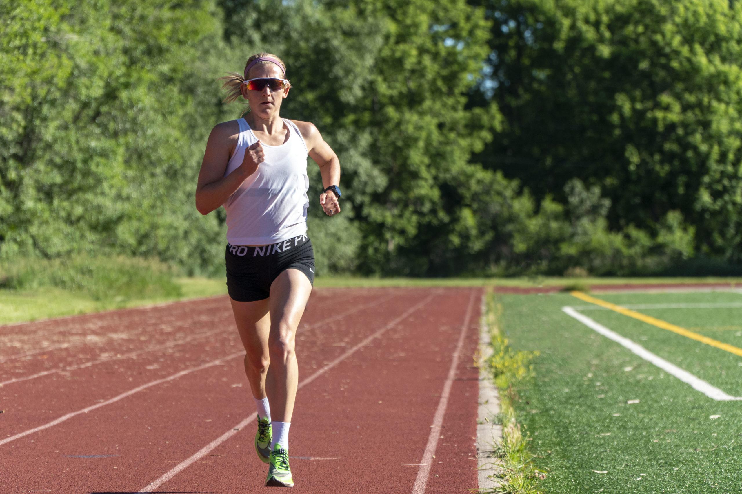 Jeanni Metzler running on Boulder Track